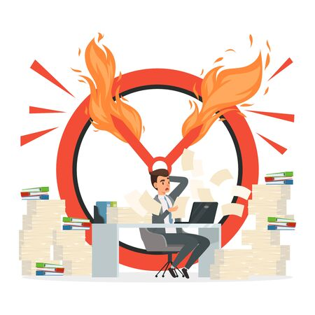 Deadline vector concept. Office manager and chaos at work illustration. Office employee hurry at deadline