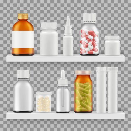 Drugs, medications packaging vector. Realistic bottles on shelf illustration. Medical bottle and pharmacy, health pill on shelf