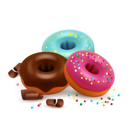 Glazed donuts with colorful bonbons and chocolate vector isolated on white background. Donut cake dessert, chocolate with sprinkles colorful illustration