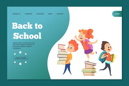 Back to school landing template. Web banner with vector cartoon students. Education and study, schoolkid back to school illustration