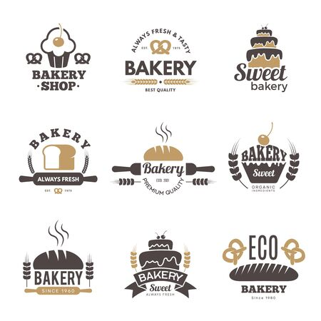 Bakery labels. Cooking symbols kitchen vector illustrations for logo design. Bakery logo emblem, premium quality badge