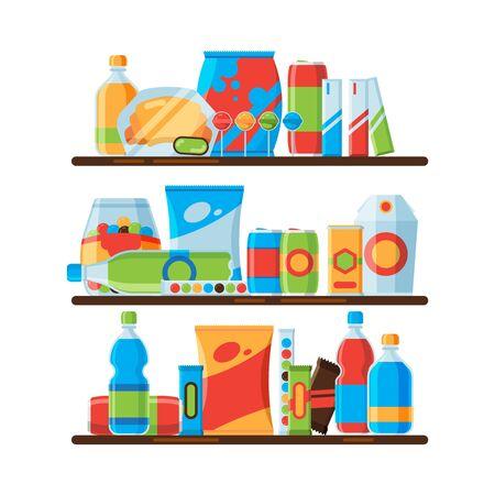 Food shelves. Snack crisp cold soda drinks in plastic bottles crackers junk food promoting vector illustrations. Snacking packaging, cracker and drink for retail Vector Illustratie