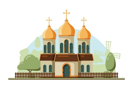 Religion building. Christian traditional church with bell vector flat architectural religion object. Illustration of building chapel, traditional catholic church