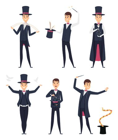 Magician. Circus showman actor male illusionist vector cartoon characters. Magician and illusionist, showman with snake and dove illustration  イラスト・ベクター素材