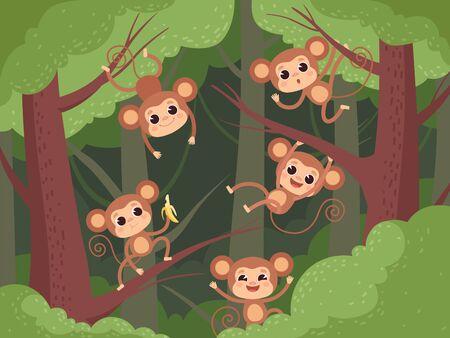 Monkey in jungle. Wild little animals playing on tree and liana and chimpanzee eating fruits banana vector cartoon background. Animal hanging, monkey on liana illustration