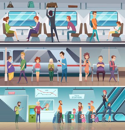 Subway entrance. Urban metro exit electronic steps platform station city fast transport vector cartoon background. Train passenger, railway underground platform, public transport subway illustration