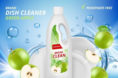Dishware cleaner. Cleaning and washing ceramic plates vector advertizing placard with place for text. Dishware cleaner detergent, hygiene for dish illustration