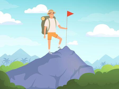Camping karakters. Wandelen achtergrond mensen reizen natuur vector concept. Illustratie van toeristische en toeristische vakantie, karakter wandelen in de buitenlucht