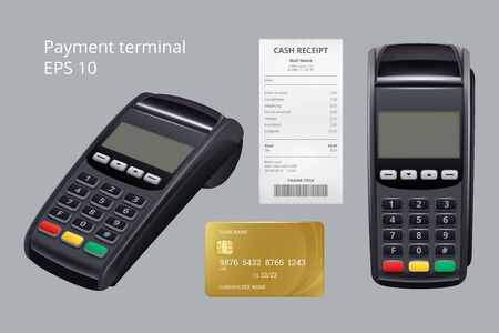 Payment terminal. Credit card termination machine nfc mobile payment receipt for goods vector realistic illustrations. Terminal for paying, pos machine and card Vektorové ilustrace
