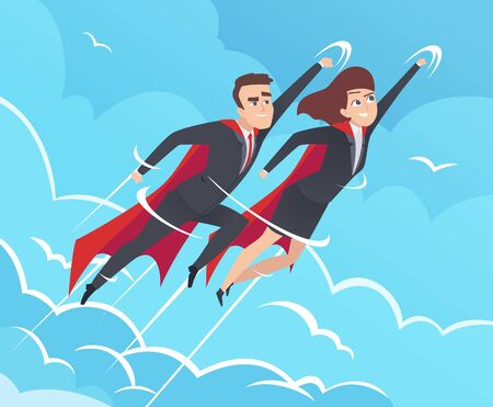 Business superheroes background. Male in action poses powerful teamwork heroes flying in sky vector business pictures. Teamwork superhero, brave and flying, leader man and woman illustration