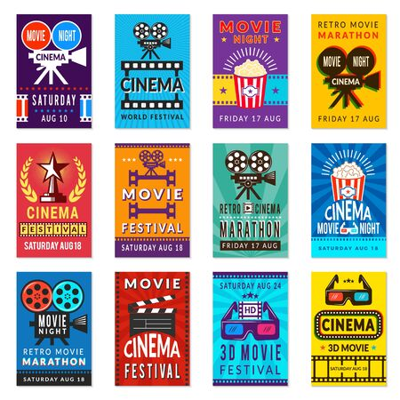 Cinema poster. Vintage film retro cards movies placard vector backgrounds collection. Illustration of cinema poster, film video banner and placard