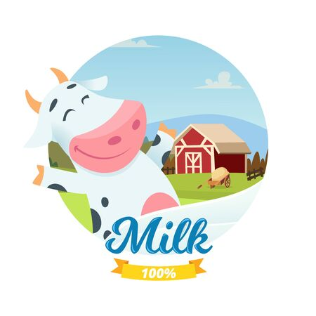 Fresh farm milk vector banner with cartoon character happy cow. Farm milk dairy fresh, farming emblem illustration Ilustração