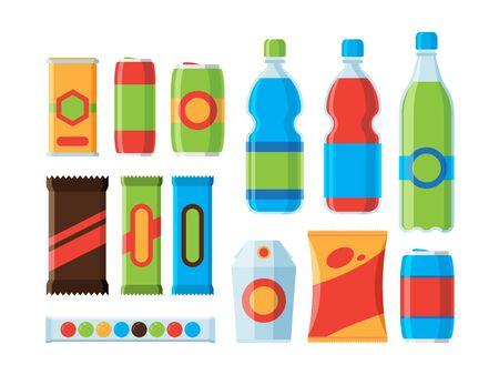 Snack food. Cookies crackers carbonated drinks chocolate bars juice vector flat illustrations. Illustration of packaging sachet snack Vector Illustratie