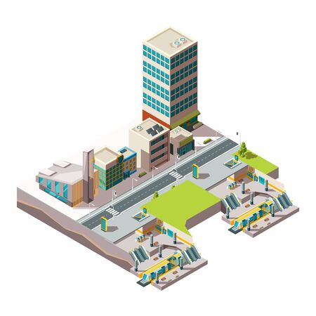 City subway. Urban landscape infrastructure with buildings and cross section railway metro vector low poly isometric. Railway train isometric, public subway illustration Illustration