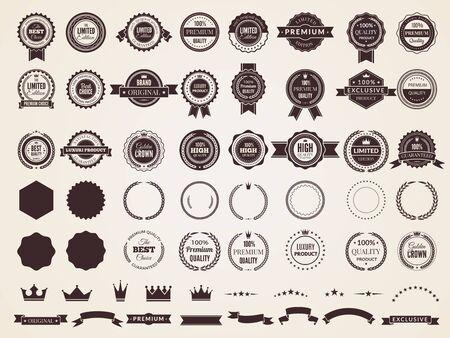 Vintage badges. Emblem premium luxury logo in retro style arrows frames vector template badges collection. Emblem and badge vintage, decoration logotype parts illustration