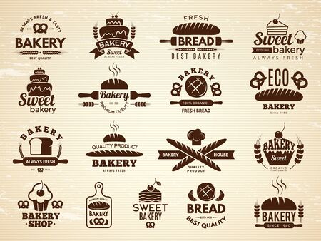 Bakery labels. Pastry and cupcakes cafe icons kitchen food bakery products vector illustrations. Bakery food emblem, product bake emblem shop Ilustração Vetorial