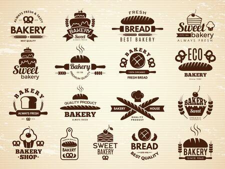 Etiketten für Bäckereien. Gebäck und Cupcakes Café Symbole Küche Lebensmittel Backwaren Vektorgrafiken. Bäckerei-Emblem, Produktback-Emblem-Shop Vektorgrafik