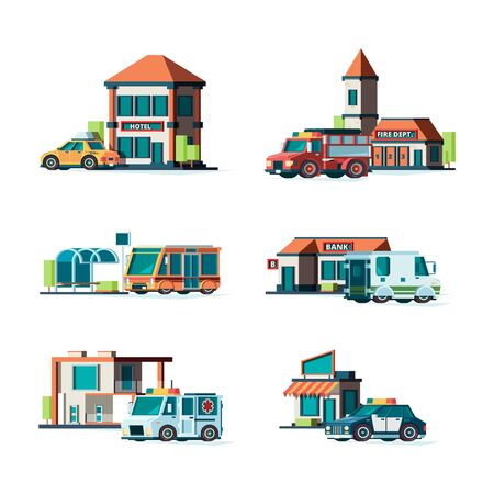 Municipal buildings. City cars near facade of buildings fire station post office police bank public vector illustrations. Fire station, construction hospital