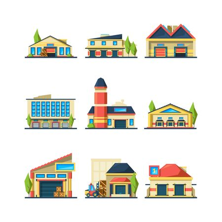 Warehouse. Flat facade buildings of store or factory warehouse exterior house vector illustrations. Collection of warehouse architecture, wholesale warehousing Ilustracje wektorowe
