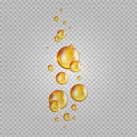 Gold oil bubbles. Vector blink collagen capsules. Cosmetics oil drops isolated on transparent background. Realistic essence gold collagen illustration
