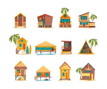 Case sulla spiaggia. Costruzioni divertenti per il vettore tropicale delle cabine e delle costruzioni del bungalow di vacanze estive. Bungalow per le vacanze estive, edificio turistico sull'illustrazione della costa del mare