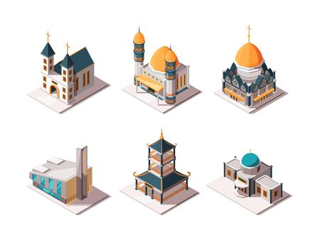Religion buildings. Islamic mosque arabic architectural objects lutheran catholic christian religion landmarks vector isometric. Christianity and catholic cathedral, muslim religious illustration