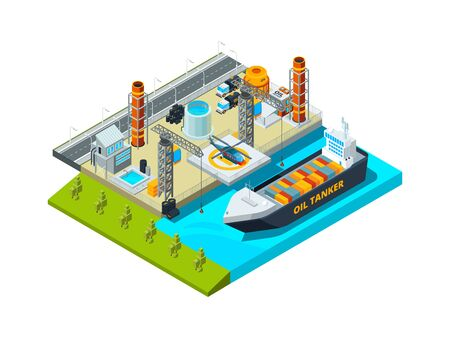 Seaport isometric. Cargo ship oil tanks seaside industrial buildings vessel and fuel farms vector 3d illustration. Seaport ship, 3d cargo commercial transportation