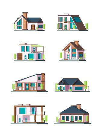 Modern cottages. Villa new living home residence townhouse vector flat collection. Illustraion of facade house, apartment construction architecture
