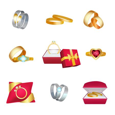 Wedding rings. Marriage symbols golden jewellery in box with ribbons vector cartoon love wedding cartoon icon. Wedding gift for marriage, ring with gem illustration
