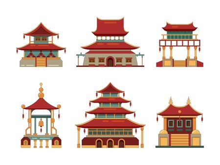 Traditional buildings. Japan and china cultural objects architecture pagoda gate palace heritage vector collection. Chinese building palace, oriental ancient architecture illustration 일러스트