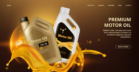 Engine oil landing page. Vector motor oil web page. Realistic plastic canistre, car repair banner. Motor fuel for engine car, bottle oil illustration 일러스트