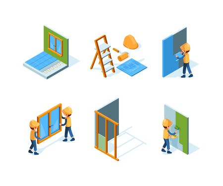 Home repair. Wall installation equipment paint workers building constructions renovation house vector isometric. Worker repair wall or paint illustration