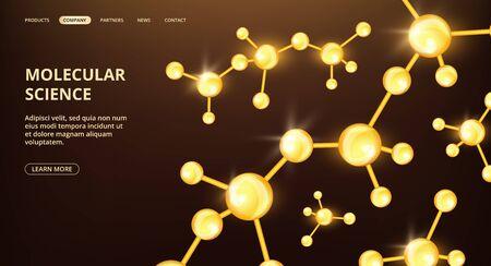 Molecular science landing page. Vector oil compound molecules web page. Scientific research cosmetology medicine banner. Illustration of science medical molecular, chemistry molecule