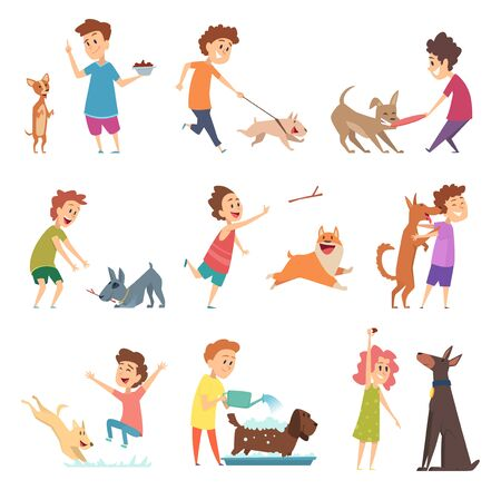 Pets and kids. Happy little puppy dogs and their owners hugging playing smiling feeding vector animals. Illustration feeding and walking dog, funny and adorable pets