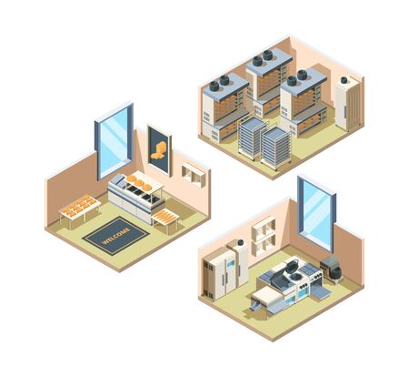 Bakery interior. Baking food bread industrial production fresh pastries shelves for food loaf market vector isometric interior. Illustration of bread and bakery interior