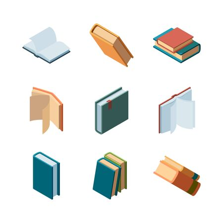 Books isometric. Diary open and closed magazines and books library colorful isometric vector collection. Illustration of literature knowledge, textbook and dictionary, isometric group of books Illusztráció