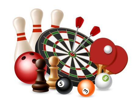 Gambling sport games. Vector bowling, darts, chess, ping pong isolated on white background. Bowling and chess, darts and snooker, ping pong sport illustration