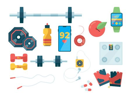 Fitness top view. Sport equipment for training gym clothes dumbbells scales vector flat pictures. Illustration of fitness equipment, gym training, sport weight dumbbell