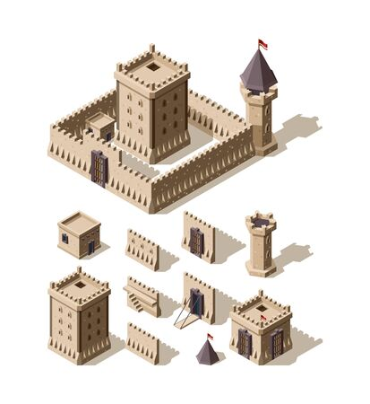 Castles isometric. Creation kit of medieval buildings walls gates towers of ancient castles vector architectural assets for games. Tower architecture, medieval building illustration