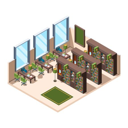 Library interior. University school room with bookshelves librarian campus vector isometric building. Library interior, furniture 3d bookshelf, university or school illustration  イラスト・ベクター素材