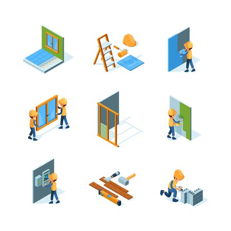 Home renovation. Worker installation new floor and walls painting flooring construct instruments vector isometric illustrations. Renovation and repair indoor interior, painting and improvement