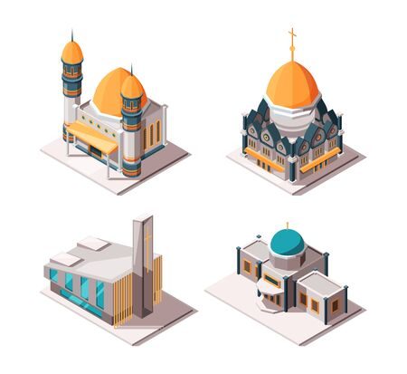 Religion buildings. Muslim mosque lutheran church christian and catholic cultural traditional religion isometric vector objects. Illustration of muslim christian and catholic church