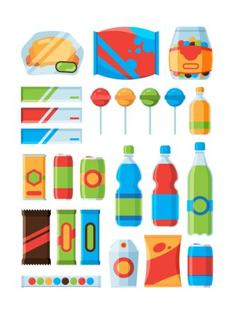Snack fast food. Soda drinks chips nuts chocolate bars vendor machine products vector pictures. Illustration of product retail, drink and snacking, packaging fast food, chocolate and cracker