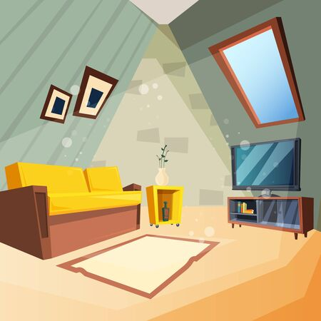 Attic. Bedroom for kids interior of attic room corner with window on ceiling vector picture in cartoon style. Illustration of cabinet interior with couch furniture
