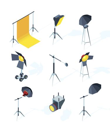 Studio equipment isometric. Photo or tv production tools spotlights softbox directional light umbrella tripod vector pictures. Illustration of screen projector, softbox and lightning for studio