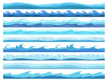 Water game seamless. Ice ocean sea or river layers parallax ready surface vector ui collection for games. UI pattern ice sea or ocean illustration