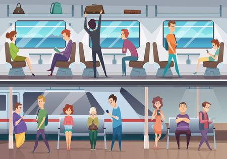 Subway. People waiting train in urban metro underground platform vector background. Train in metropolitan with passenger, commuter inside illustration Stock Illustratie