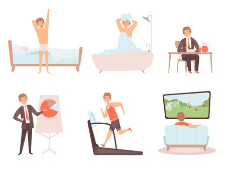 Man daily routine. Businessman work day morning night everyday lifestyle vector character. Day routine, daily work and leisure illustration