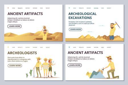 Modèles de page de destination des archéologues. Les archéologues de dessins animés explorent l'illustration vectorielle des antiquités. L'archéologue découvre l'antiquité, l'archéologie découvre