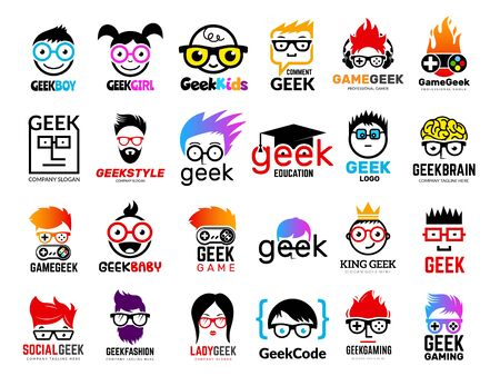 Geek logo. Business badges symbols of gamers nerd smart characters easy learning face with glasses vector collection. Illustration of nerd and geek man in glasses, genius creativity logo Banque d'images - 129116568